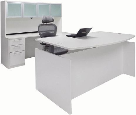 Adjustable Height Bow Front U-Shaped Desk w/Hutch in White