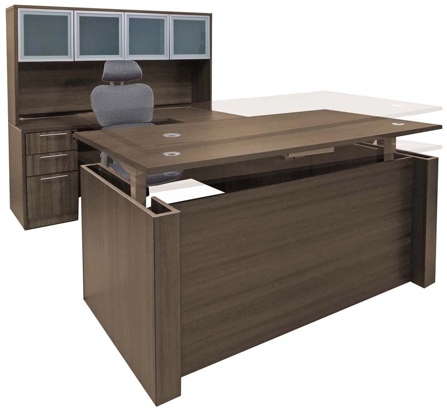 Adjustable Height U Shaped Executive Office Desk Whutch In Modern