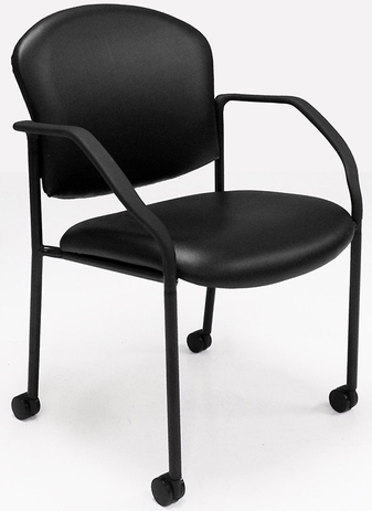 Antimicrobial Vinyl Guest Chair with Casters & Glides