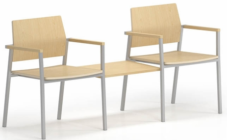 Avon 2-Chairs/Connecting Table Set � Plywood Back/Seat