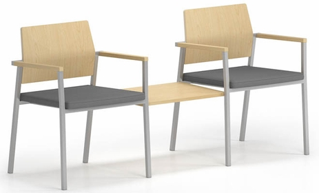 Avon 2-Chairs/Connecting Table Set � Plywood Back/Upholstered Seat  - Upgrade Fabric or Healthcare Vinyl