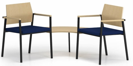 Avon 2-Chairs/Corner Table Set - Plywood Back/Upholstered Seat  - Standard Fabric or Vinyl