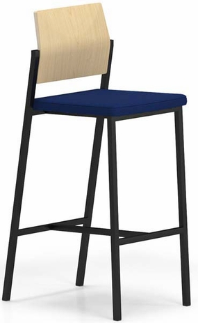 Avon Bar Height Cafe Stool w/ Plywood Back & Upholstered Seat in Standard Fabric or Vinyl