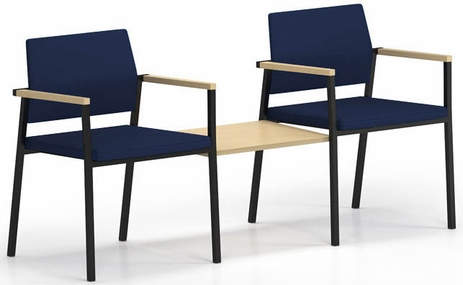 Avon Fully Upholstered  2-Chairs/Connecting Table Set - Standard Fabric or Vinyl