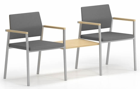 Avon Fully Upholstered  2-Chairs/Connecting Table Set - Upgrade Fabric or Healthcare Vinyl