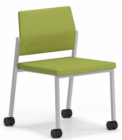 Avon Fully Upholstered Stackable Armless Chair on Casters � Standard Fabric or Vinyl