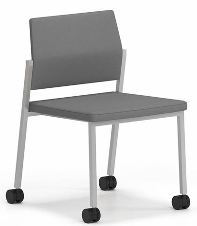 Avon Fully Upholstered Stackable Armless Chair on Casters � Upgrade Fabric or HealthcareVinyl