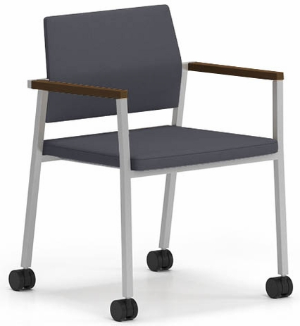 Avon Fully Upholstered Stackable Guest Chair on Casters - Standard Fabric or Vinyl