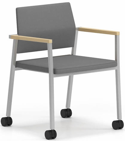 Avon Fully Upholstered Stackable Guest Chair on Casters - Upgrade Fabric or Healthcare Vinyl