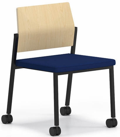 Avon Plywood Back / Fabric Seat Stackable Armless Chair on Casters - Standard Fabric or Vinyl