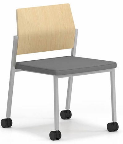 Avon Plywood Back / Fabric Seat Stackable Armless Chair on Casters - Upgrade Fabric or Healthcare Vinyl