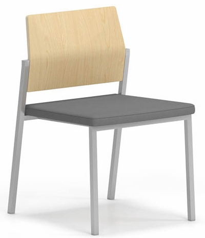 Avon Plywood Back / Fabric Seat Stackable Armless Chair - Upgrade Fabric or Healthcare Vinyl