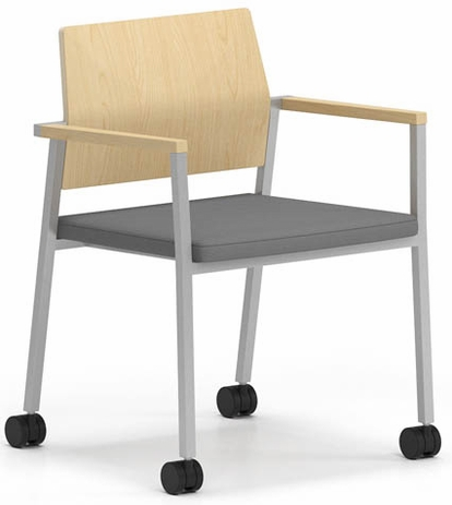 Avon Plywood Back / Fabric Seat Stackable Guest Chair on Casters - Upgrade Fabric or Healthcare Vinyl