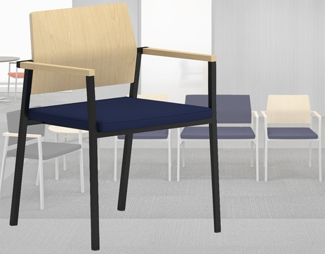 Avon Reception Seating Series - Plywood Back / Fabric Seat Stackable Guest Chair in Standard Fabric or Vinyl