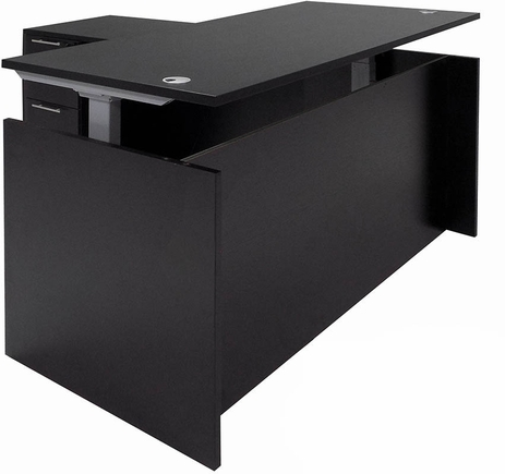 Black Adjustable Height Manager's L-Shaped Desk