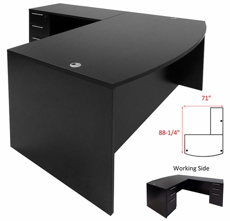 Black L-Shaped Bow Front Conference Desk w/6 Drawers