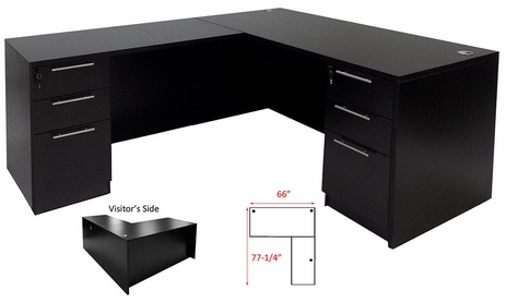 Black L-Shaped Rectangular Manager's Desk w/6 Drawers