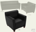 Black Leather Reception Seating - Club Chair