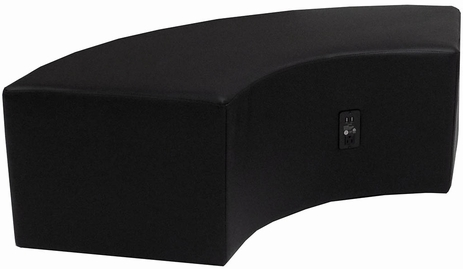 Black Leather Powered & USB Charging Curved Bench