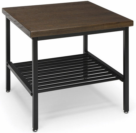 Black Metal End Table with Wood Top