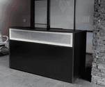 Black Reception Desk w/Frosted Glass Panel