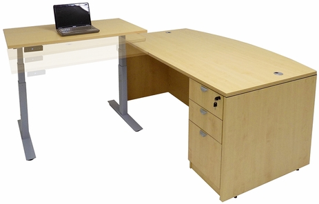 Bow Front L-Desk w/Electric Lift Height Adjustable Return