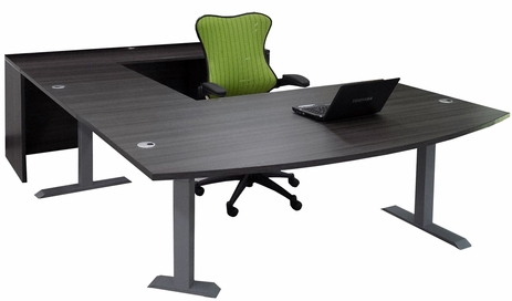 Bow Front U-Desk with Height Adjustable L-Surface