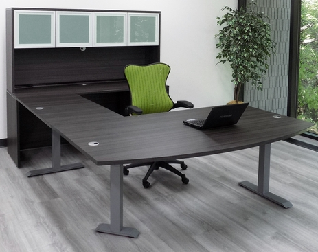 Bow Front U-Desk with Hutch and Height Adjustable L-Surface