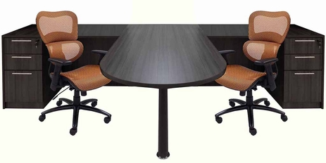 Charcoal 2-Person Shared Workstation