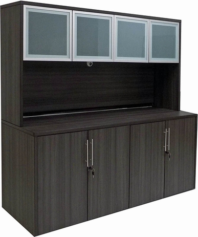 Charcoal 4-Door Storage Credenza w/Hutch