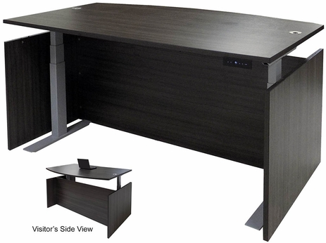 Charcoal Adjustable Height Bow Front Desk