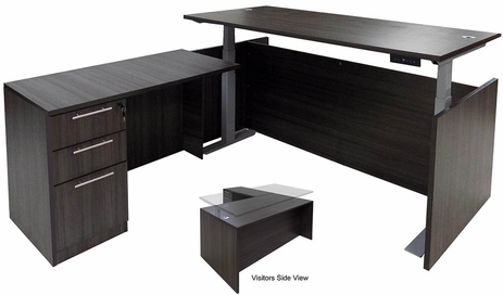 Charcoal Adjustable Height Rectangular Front L-Shaped Desk
