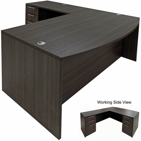 Charcoal L-Shaped Bow Front Conference Desk w/6 Drawers