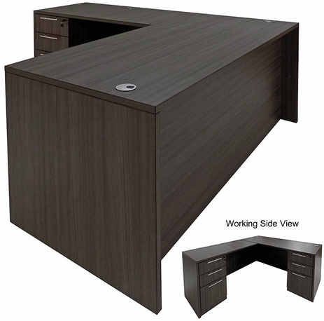 Charcoal L-Shaped Rectangular Managers Desk w/6 Drawers
