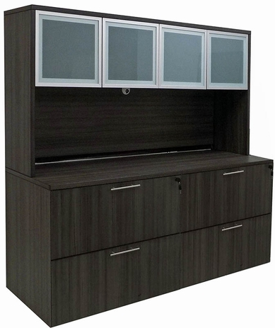 Charcoal Lateral File Credenza w/Hutch