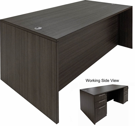 Charcoal Rectangular Executive Desk w/6 Drawers