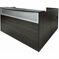 Charcoal Woodgrain L-Shaped Reception Desk w/Frosted Glass Panel