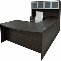 Charcoal Woodgrain Laminate Conference U-Shaped Workstation w/Hutch