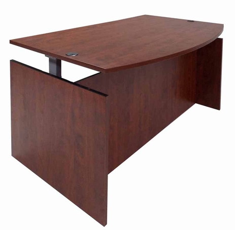Cherry Adjustable Height Bow Front Desk