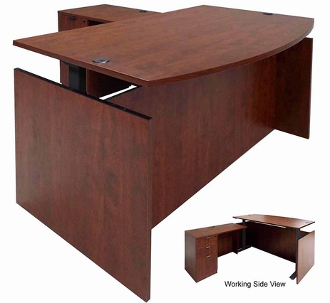 Cherry Adjustable Height Bow Front L-Shaped Desk