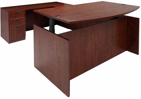 Cherry Adjustable Height Bow Front U-Shaped Desk