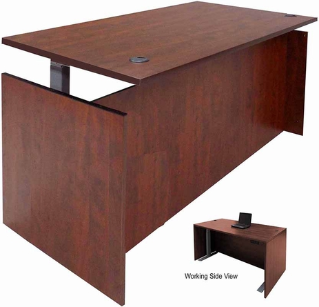 Cherry Adjustable Height Manager's Desk