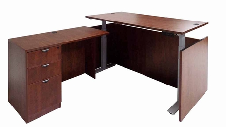 Cherry Adjustable Height Manager's L-Shaped Desk