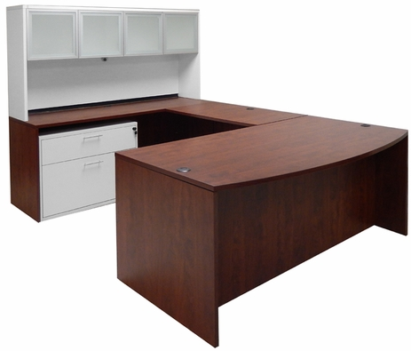 Cherry Bow Front Conference U-Desk w/Glass Door Hutch