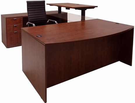 Cherry Electric Lift Adjustable Bridge U-Desk