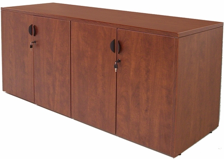 Cherry Laminate 4-Door Locking Storage Credenza