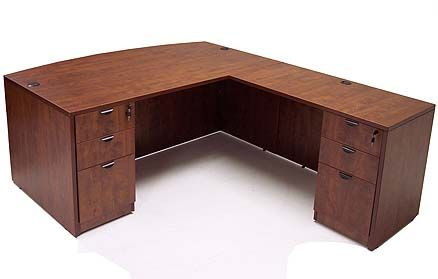 Cherry Laminate Bow Front L-Shaped Desk w/ 6 Drawers