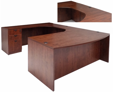 Cherry Laminate U-Shaped Workstation w/Curved Bridge