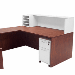 Cherry & White Structures 2-Person Reception Desk