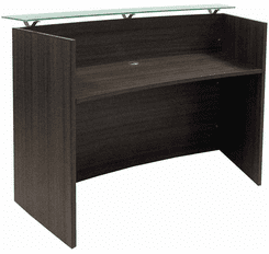 Curved Charcoal Glass Top Reception Desk - 60